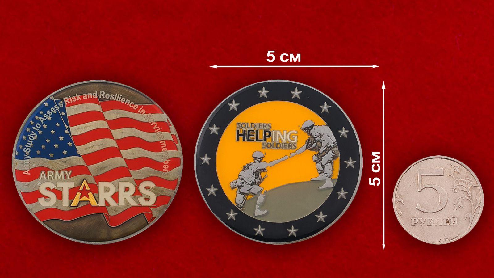 Челлендж коин группы исследовательской группы военных психологов - сравнительный размер