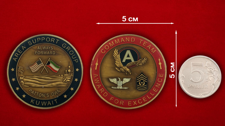 Челлендж коин группы поддержки войсковых подразделений Армии США в Кувейте - сравнительный размер
