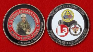Челлендж коин группы специалистов по обезвреживанию минометных взрывателей Корпуса морской пехоты США - обе стороны