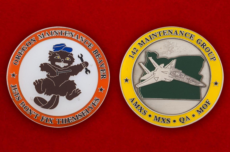 Челлендж коин группы технического обслуживания 142-го авиакрыла Нацгвардии США - аверс и реверс