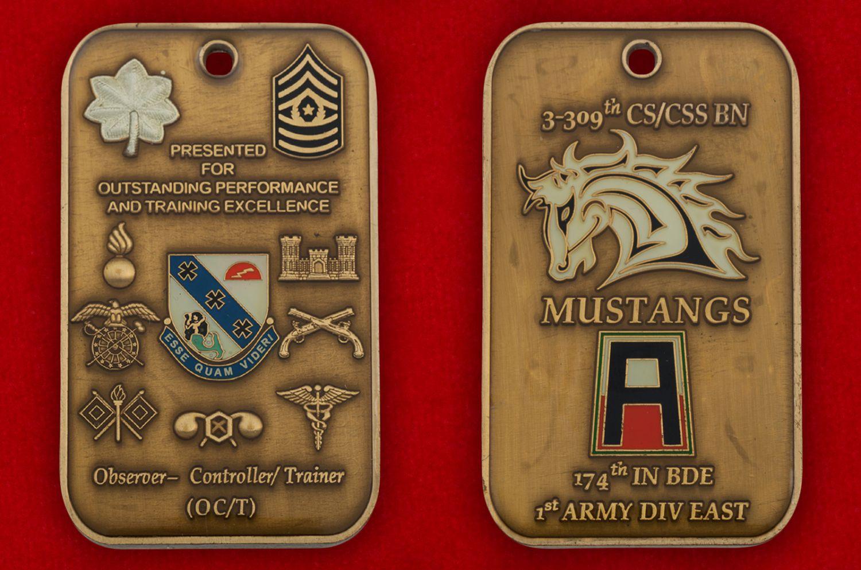 Челлендж коин инструктора-наблюдателя за учениями 1-го батальона 309-го  пехотного полка и 174-й Пехотной бригады Армии США - аверс и реверс