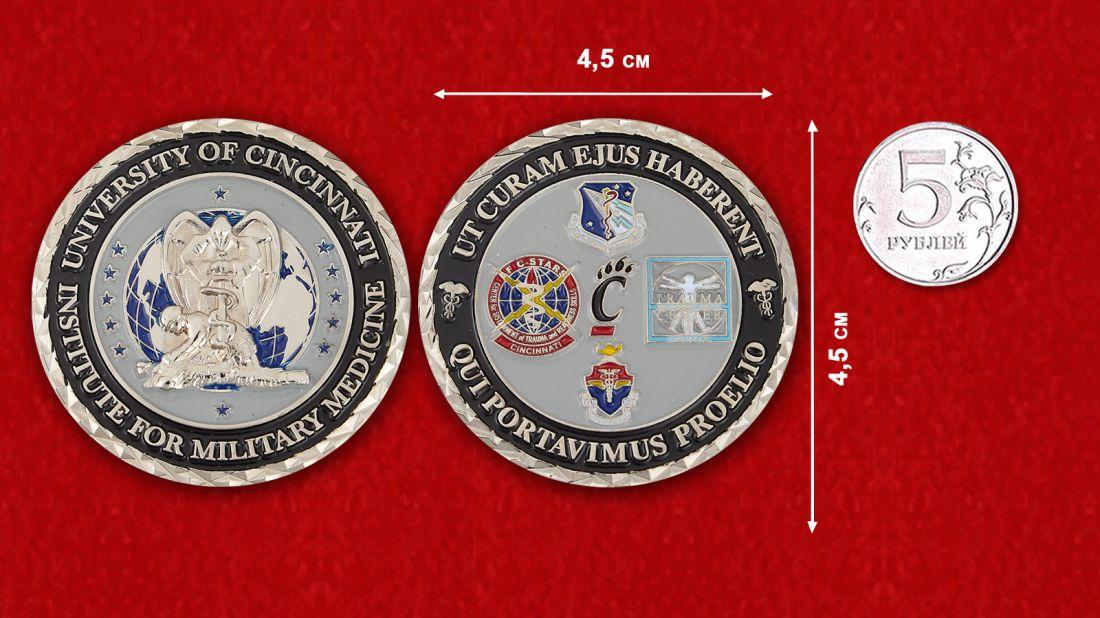 Челлендж коин Института военной медицины при Университете Цинцинатти - сравнительный размер
