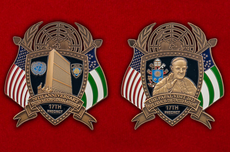 Челлендж коин к 70-й годовщине Генеральной Ассамблеи ООН - аверс и реверс