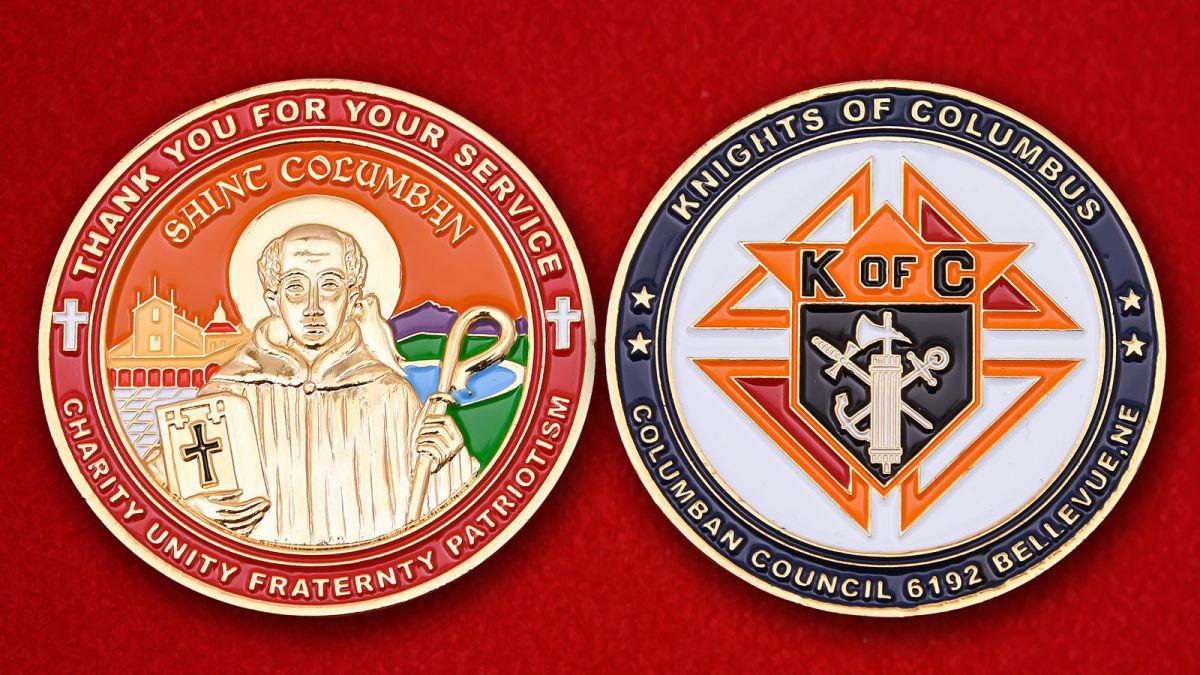 """Челлендж коин благотворительного католического братства """"Рыцари Колумба"""" - аверс и реверс"""
