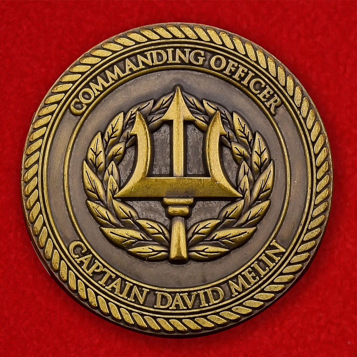 """Челлендж коин """"Командир учебного корпуса ВМС США при Вашингтонском университете капитан Дэвид Мелин"""""""