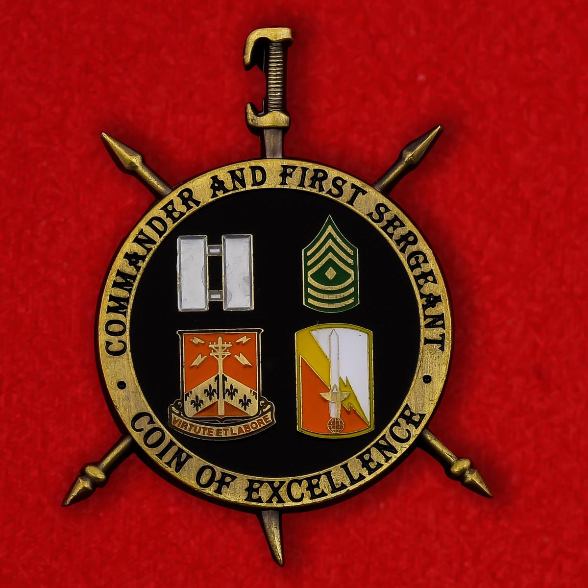 """Челлендж коин """"Командиру 327-й роты связи армии США"""""""