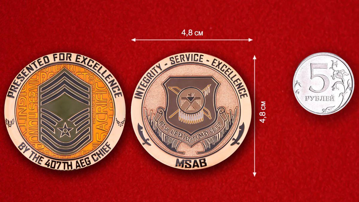 """Челлендж коин """"Командиру 407-й Экспедиционной авиагруппы за отлиную службу"""" - сравнительный размер"""