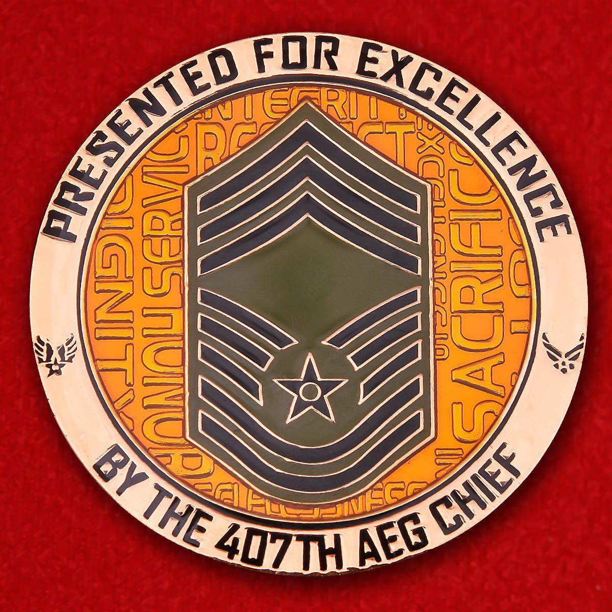 """Челлендж коин """"Командиру 407-й Экспедиционной авиагруппы за отличную службу"""""""