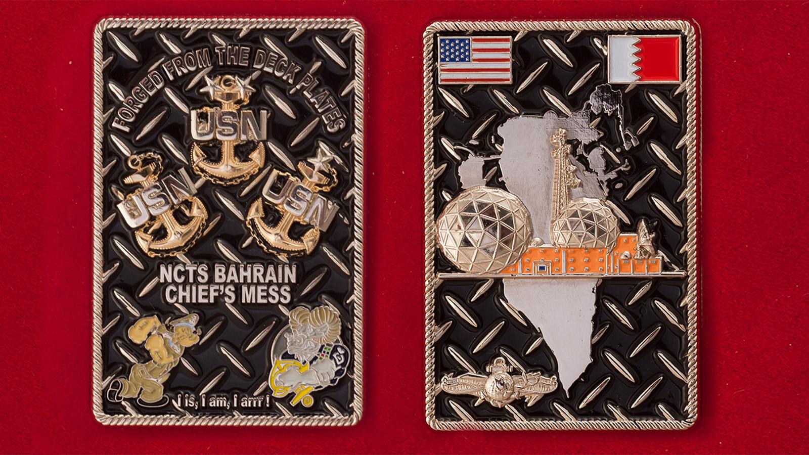Челлендж коин командного состава Морской компьютерной и навигационной станции связи ВМС США в Бахрейне - аверс и реверс