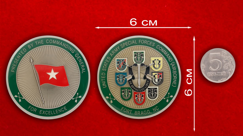 """Челлендж коин """"Командованию специальных операций (ВДВ) от Центрального командования Армии США"""" - сравнительный размер"""