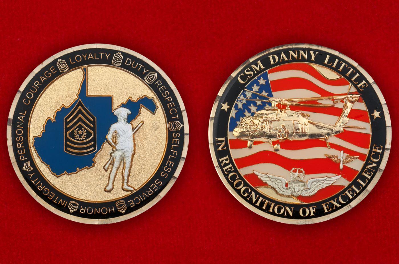 "Челлендж коин ""Комманд-сержант-майору Нацгвардии США Дэнни Литтлу"" - аверс и реверс"