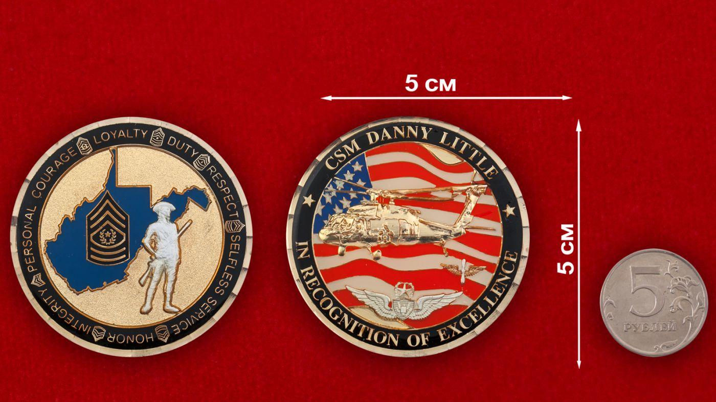 """Челлендж коин """"Комманд-сержант-майору Нацгвардии США Дэнни Литтлу"""" - сравнительный размер"""