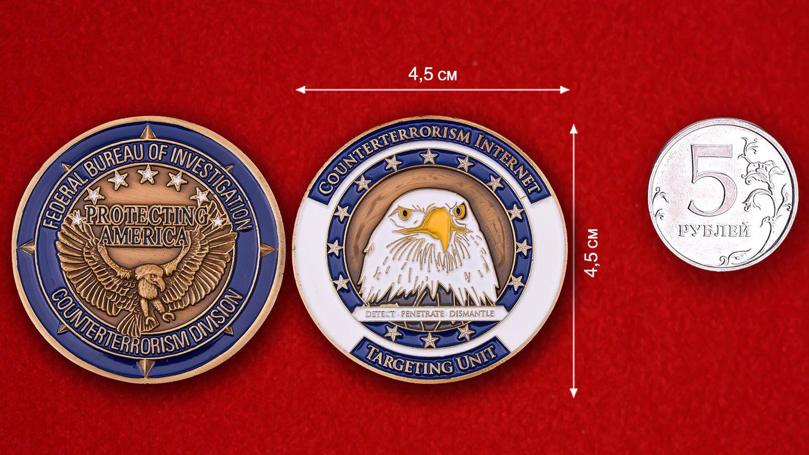 Челлендж коин Контртеррористического отдела ФБР - сравнительный размер