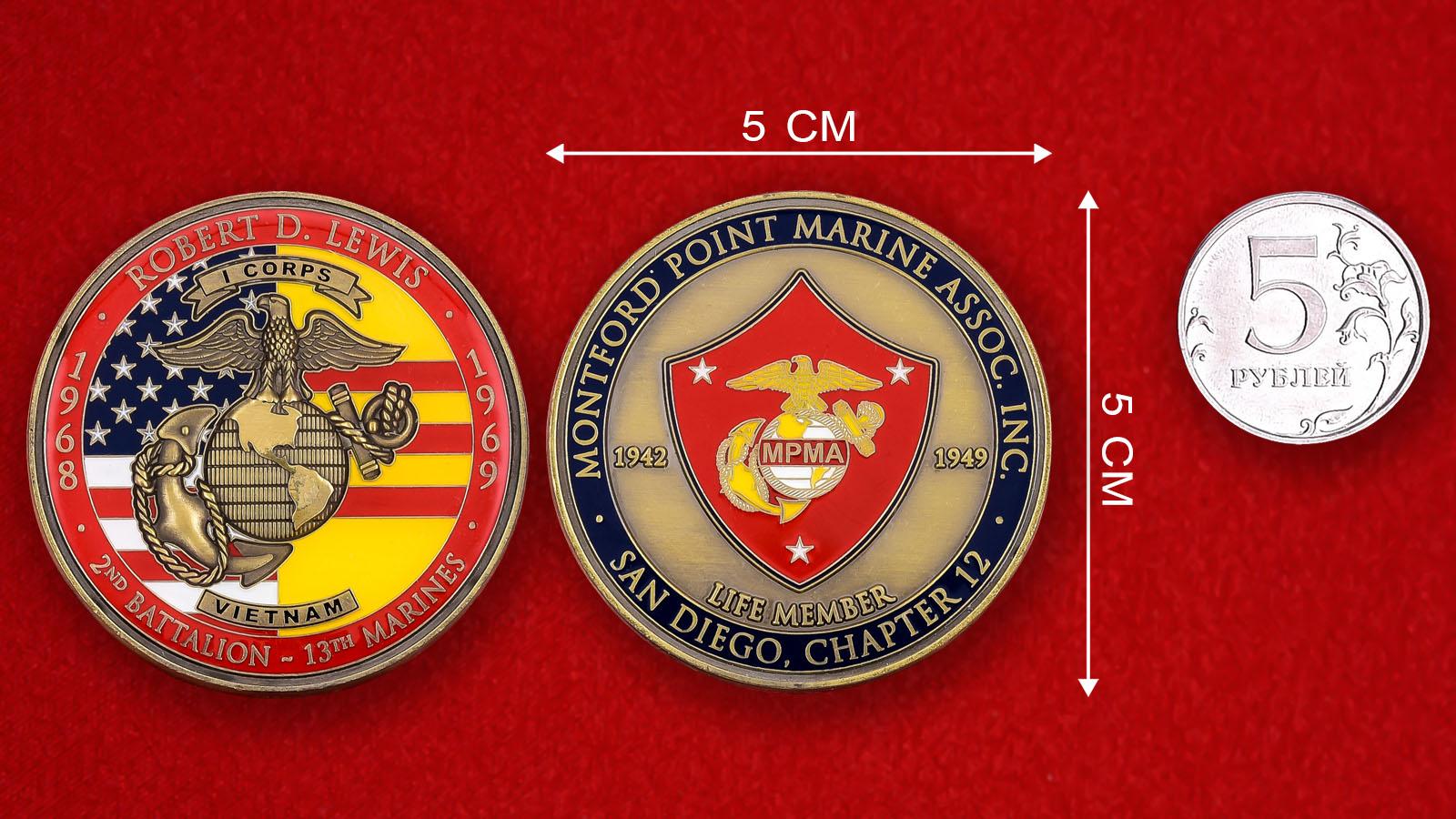 "Челлендж коин Корпуса Морской пехоты США ""2-й батальон, 13-й полк. Вьетнам"""