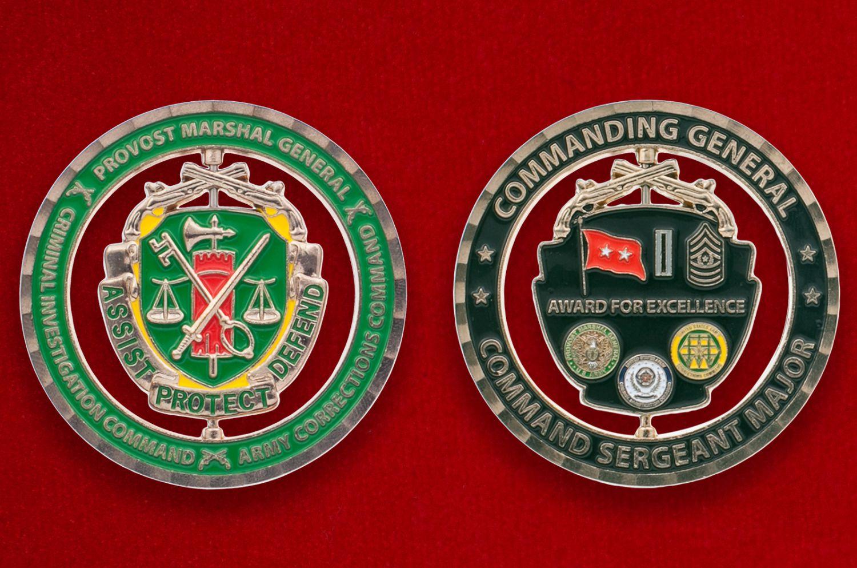 Челлендж коин Корпуса Военной полиции Армии США - аверс и реверс