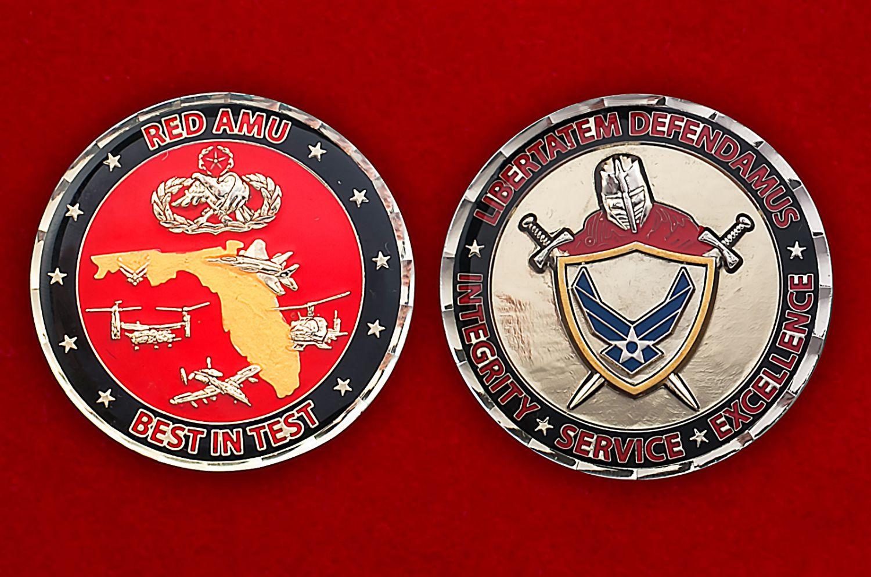 """Челлендж коин """"Красной группы"""" 46-й авиаремонтной эскадрильи ВВС США - аверс и реверс"""