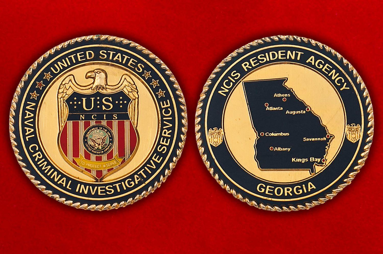 Челлендж коин Криминальной полиции ВМС США штата Джорджия - аверс и реверс