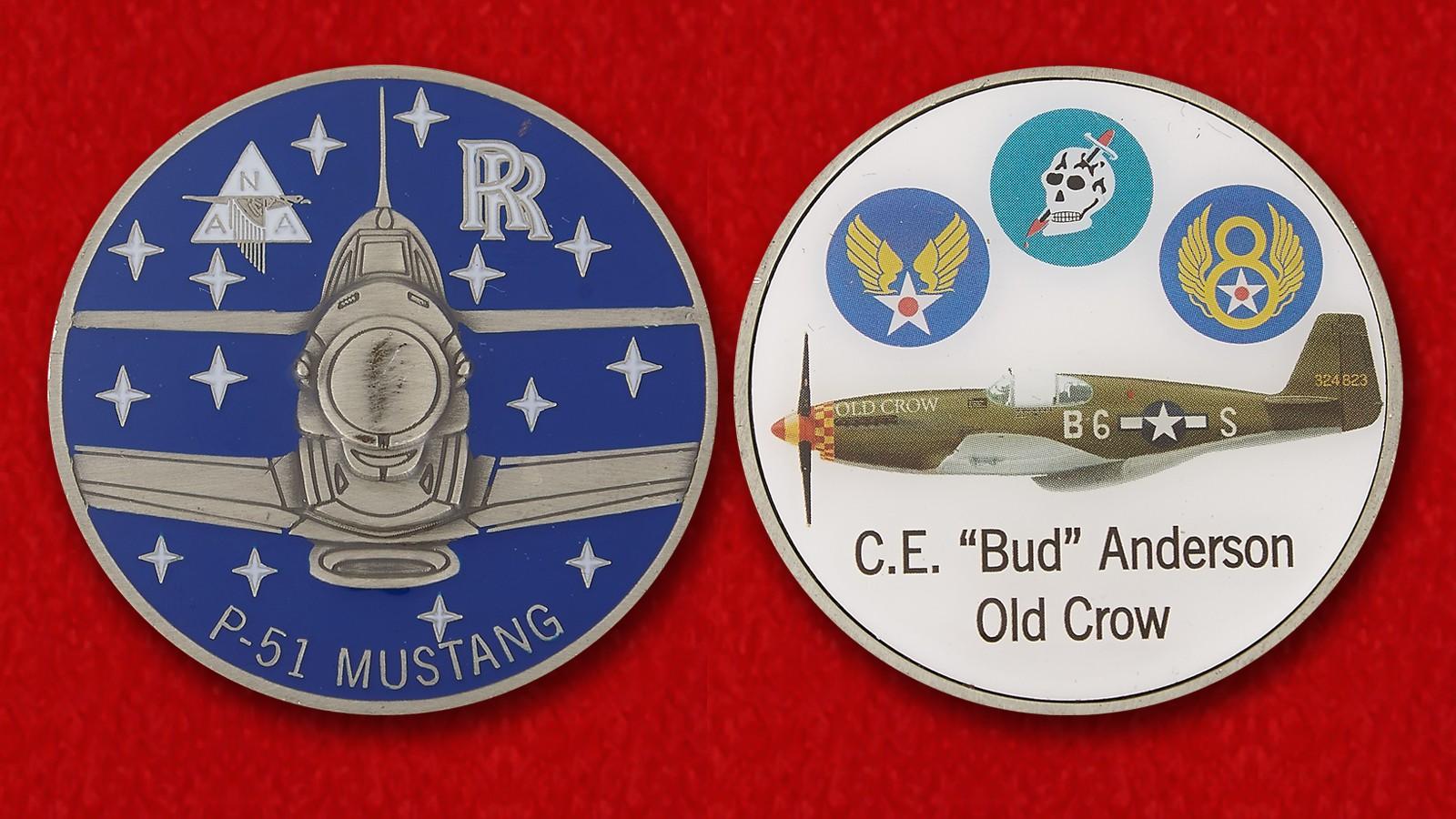 "Челлендж коин легендарного аса ВВС США полковника Кларенса Бада Андерсона ""Старый ворон"""