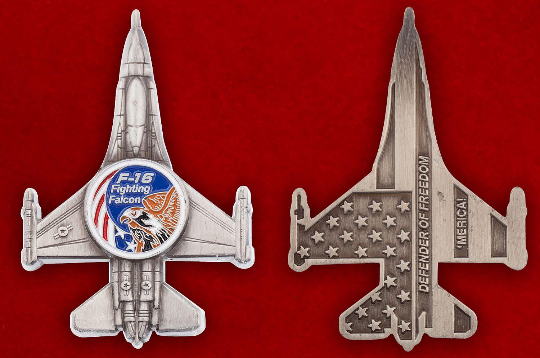 """Челлендж коин """"Легкий истребитель ВВС США F-16 Fighting Falcon"""" - аверс и реверс"""