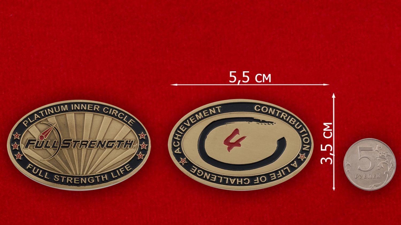 Челлендж коин линейки продуктов спортивного питания Full Strength - сравнительный размер