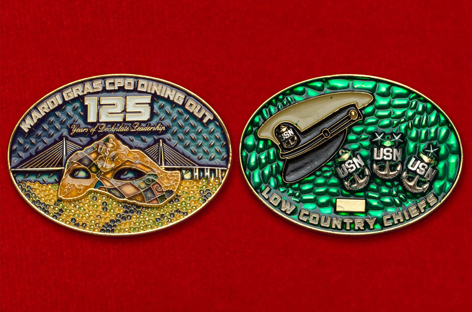 Челлендж коин масленичного ужина (Марди Гра) ассоциации главных старшин ВМС США