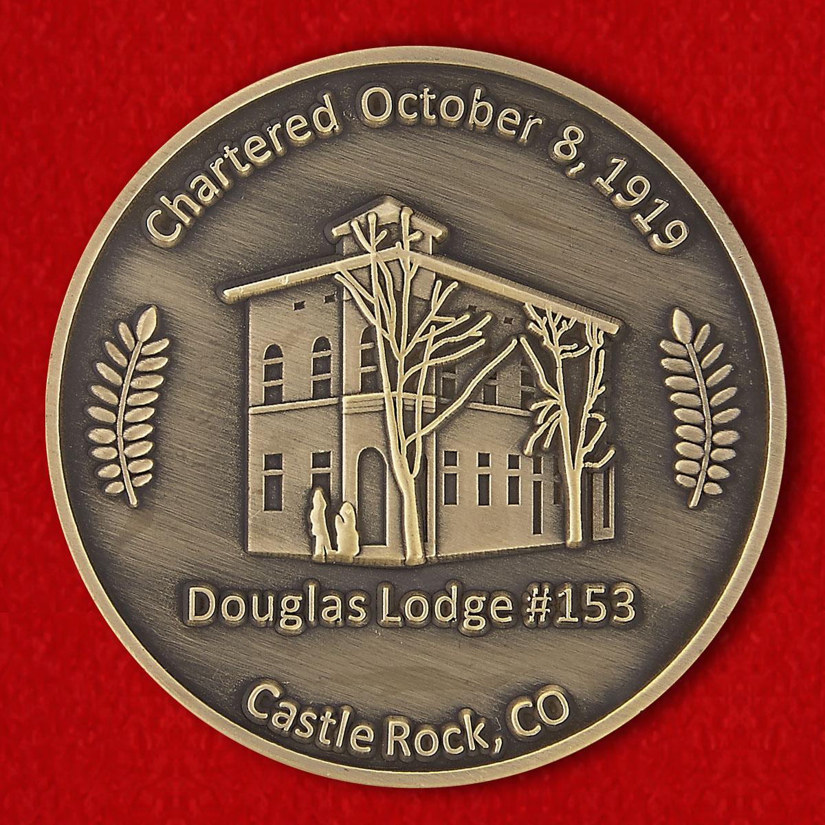 """Челлендж коин Масонской ложи Дуглас #153"""" в Касл-Рок, Колорадо"""