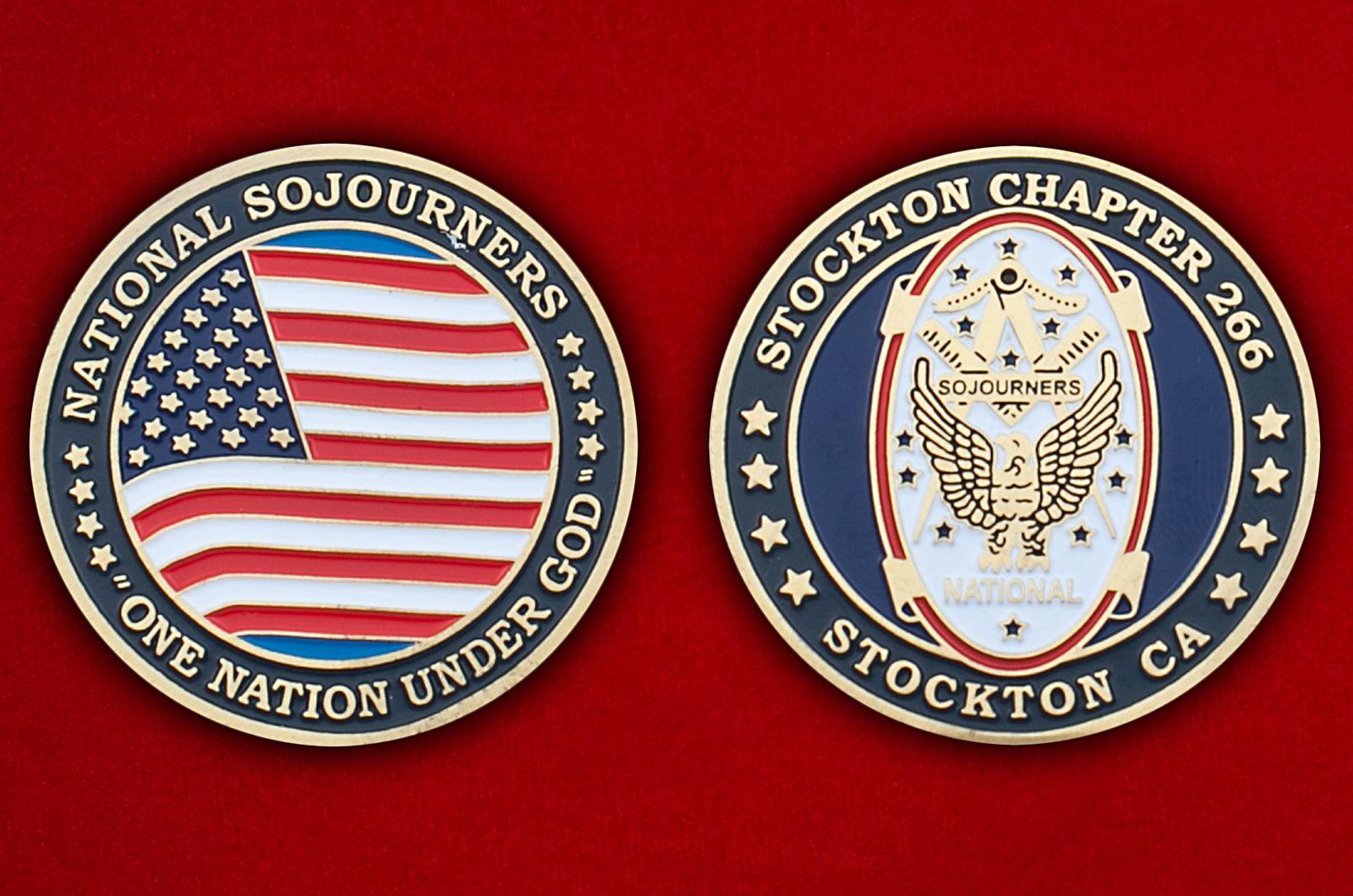 Челлендж коин масонской организации ветеранов ВС США - аверс и реверс