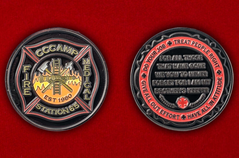 Челлендж коин медиков 65-й станции Добровольной пожарной охраны - аверс и реверс