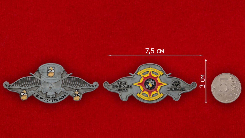Челлендж коин Медицинского батальона 2-й группы материально-техничекого обеспечения Корпуса Морской пехоты США - сравнительный размер