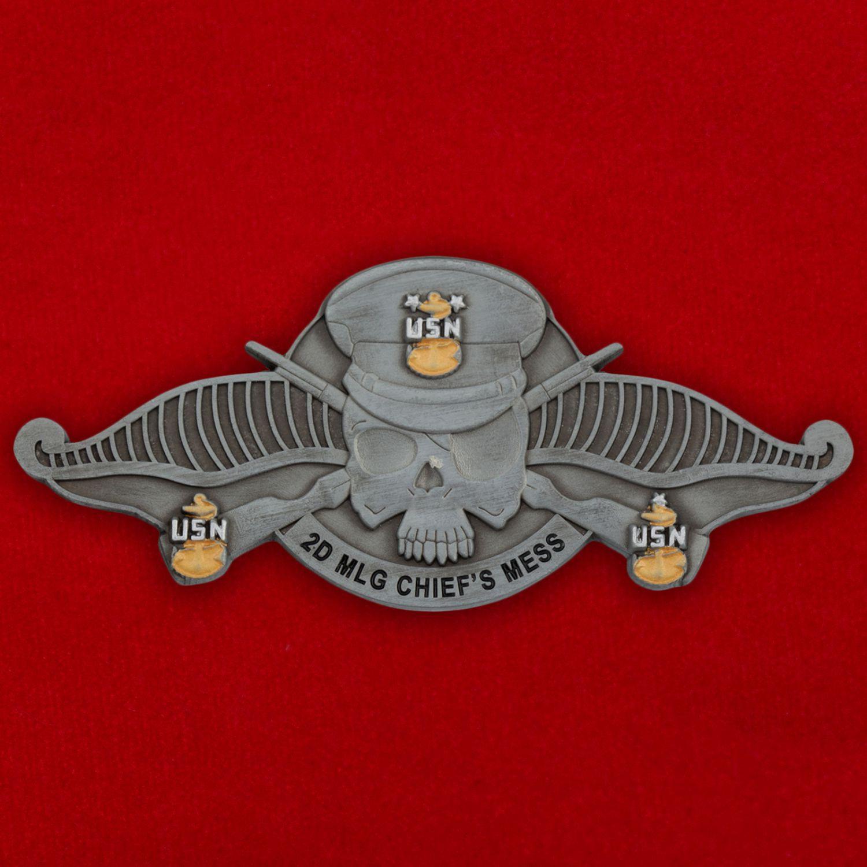Челлендж коин Медицинского батальона 2-й группы материально-техничекого обеспечения Корпуса Морской пехоты США