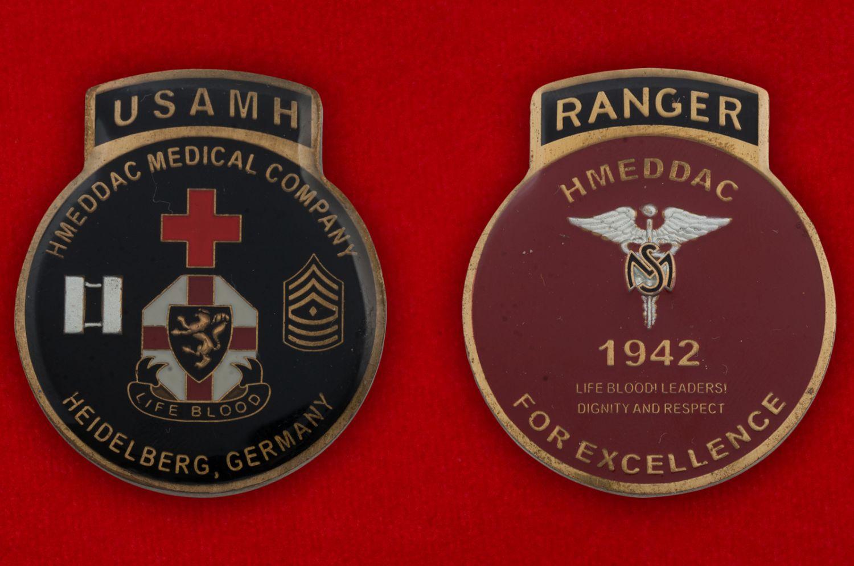 Челлендж коин Медицинской роты Армии США в Гейдельберге, Германия - аверс и реверс