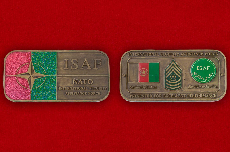 Челлендж коин Международных сил содействия безопасности НАТО в Афганистане - аверс и реверс
