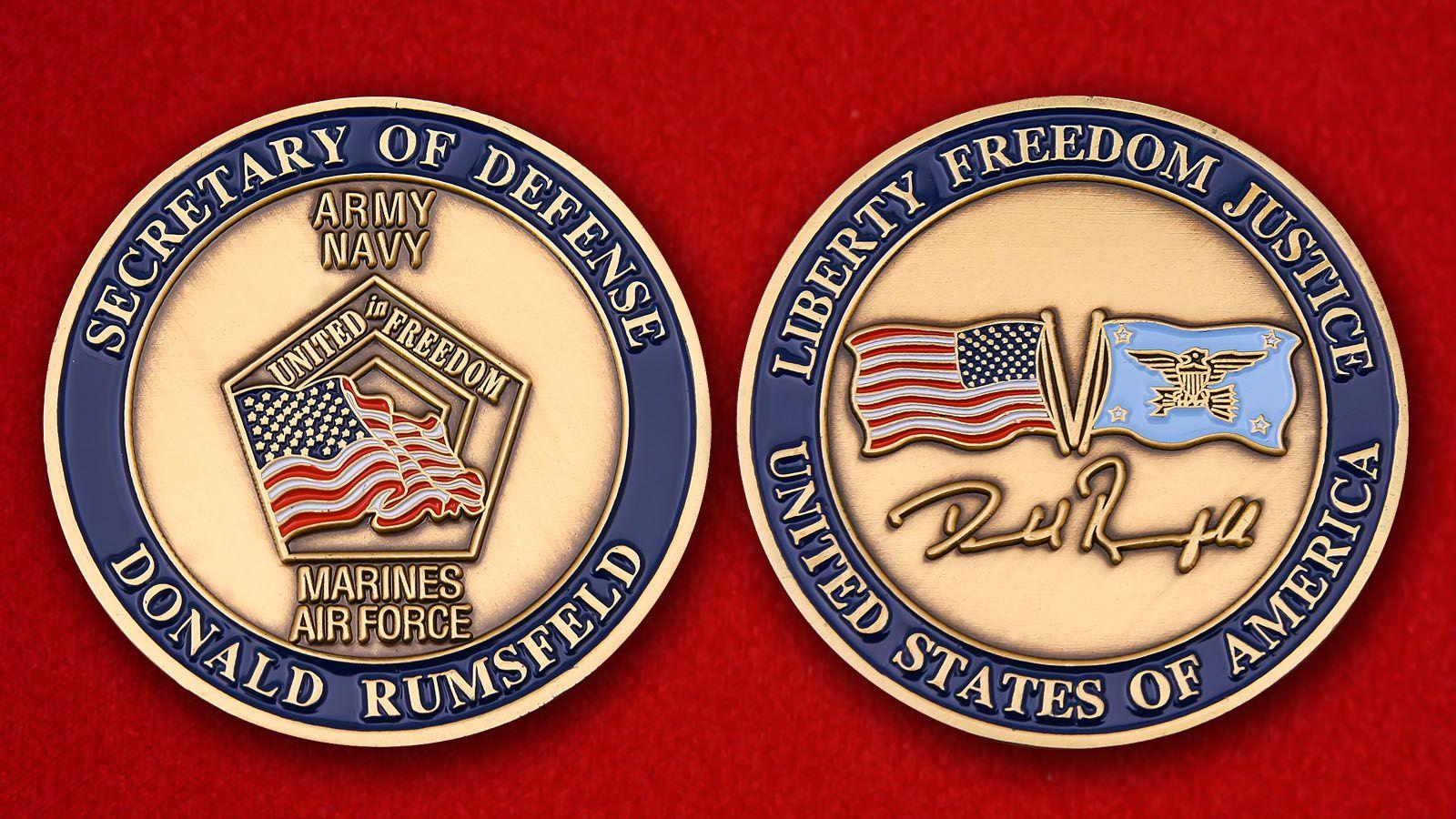 """Челлендж коин """"Министр обороны США  Дональд Рамсфелд"""" - аверс и реверс"""