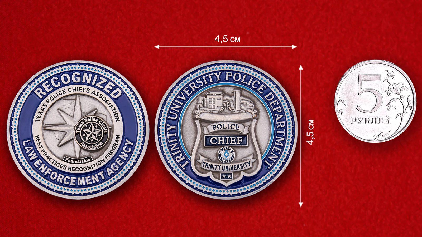 Челлендж коин начальника полиции Униврситета Троицы сравнительный размер