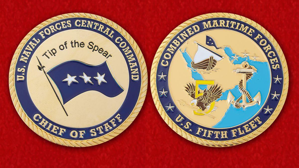 Челлендж коин начальника штаба Центрального Командования ВМС США - аверс и реверс