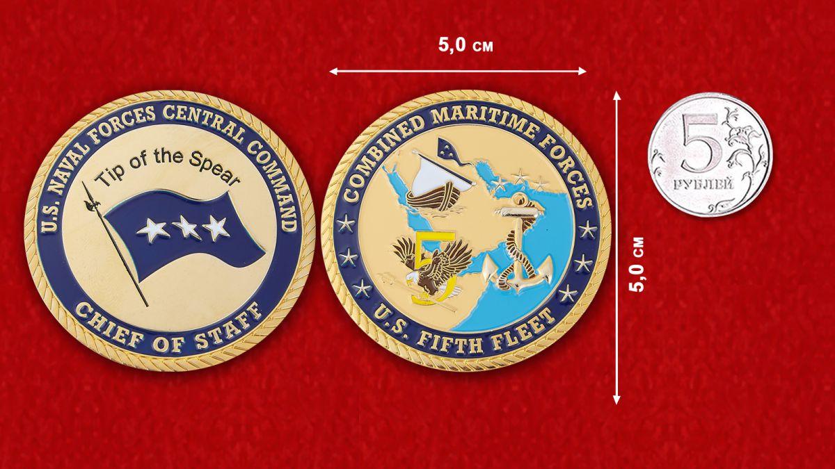 Челлендж коин начальника штаба Центрального Командования ВМС США - сравнительны размер