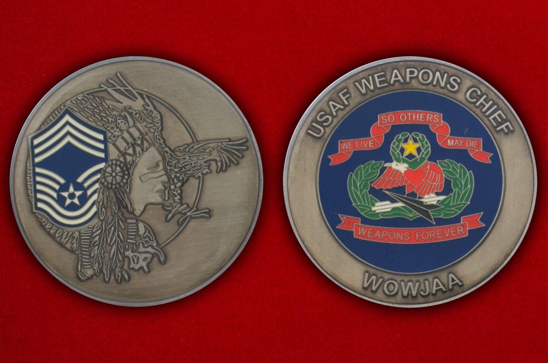 Челлендж коин начальника Управления вооружения ВВС США - аверс и реверс
