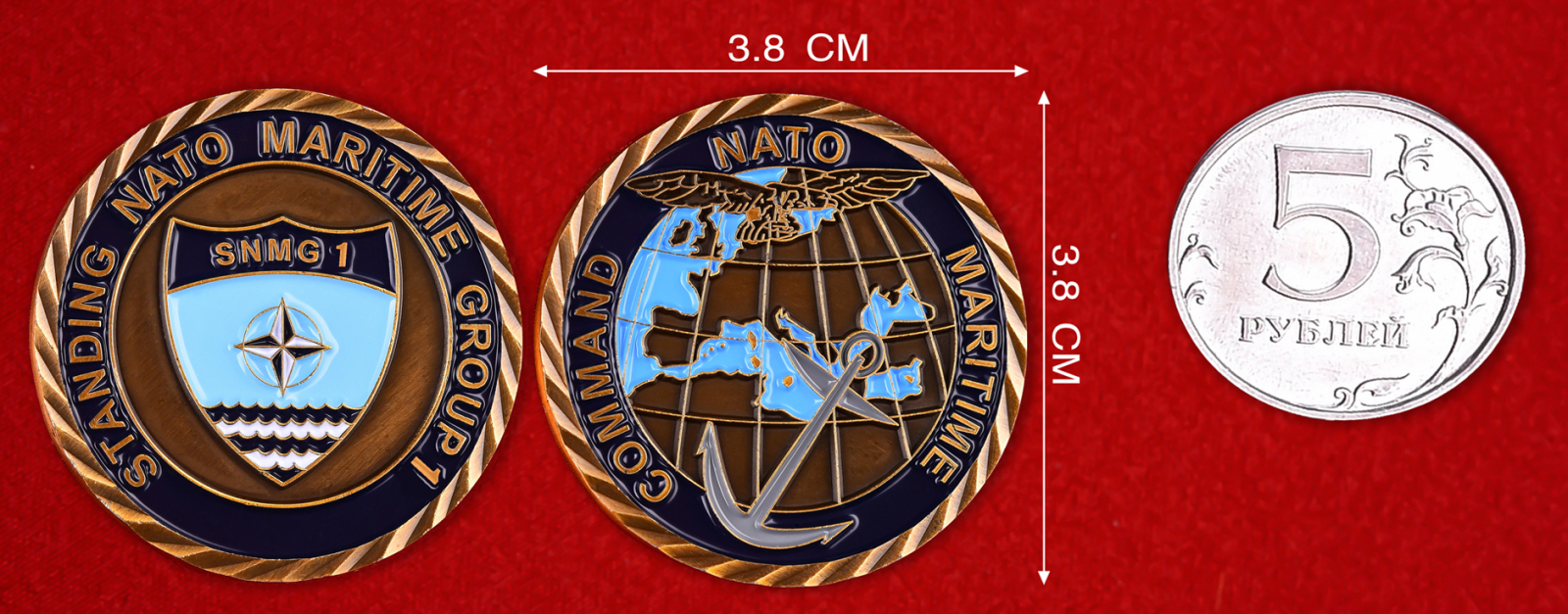 """Челлендж коин НАТО """"1-я постоянная военно-морская группа"""""""