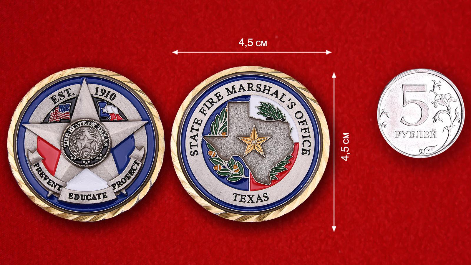 """Челлендж коин Челлендж коин Госпожарнадзора штата Техас штата Техас"""" - сравнительный размер"""