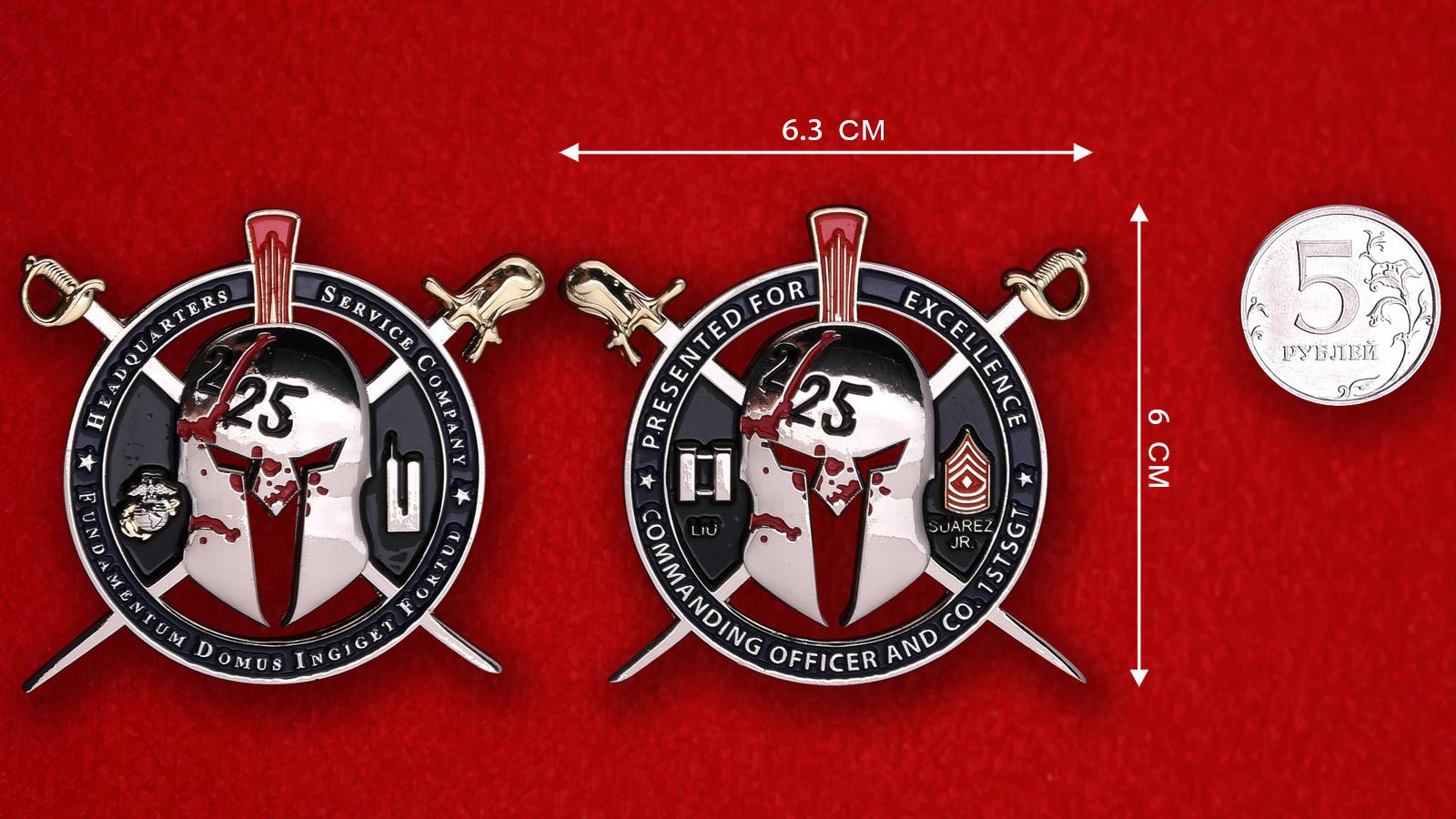 """Челлендж коин """"Офицерам и сержантам 2-го батальона 25-го полка Корпуса Морской пехоты США от штаба"""""""