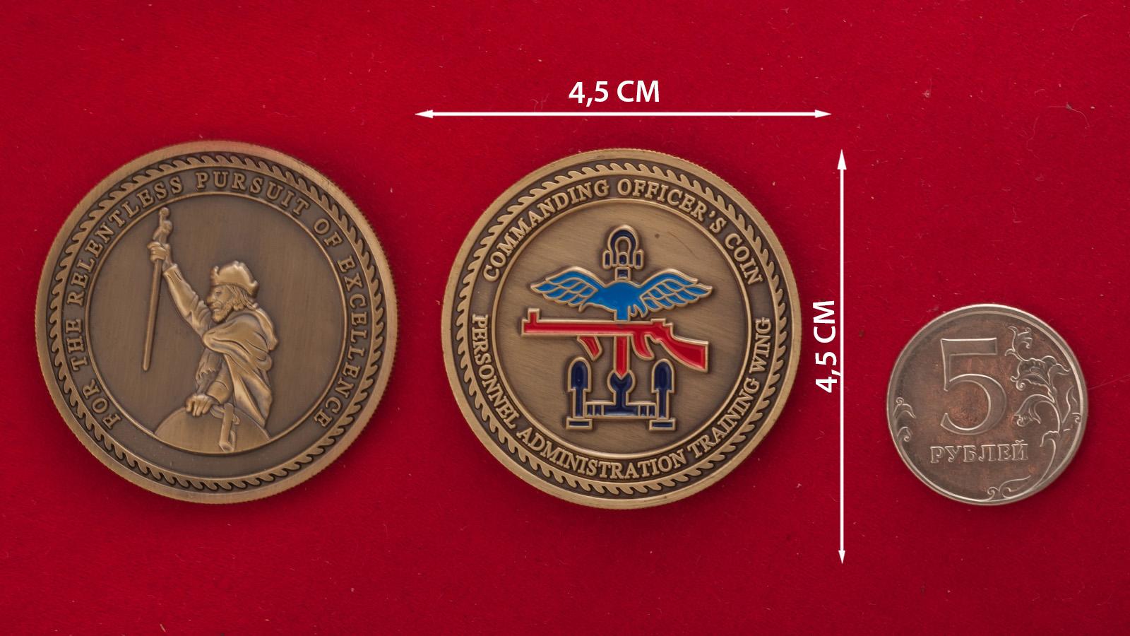 Челлендж коин офицеров учебного крыла управления кадров и тыла Королевских ВВС Великобритании - сравнительный размер