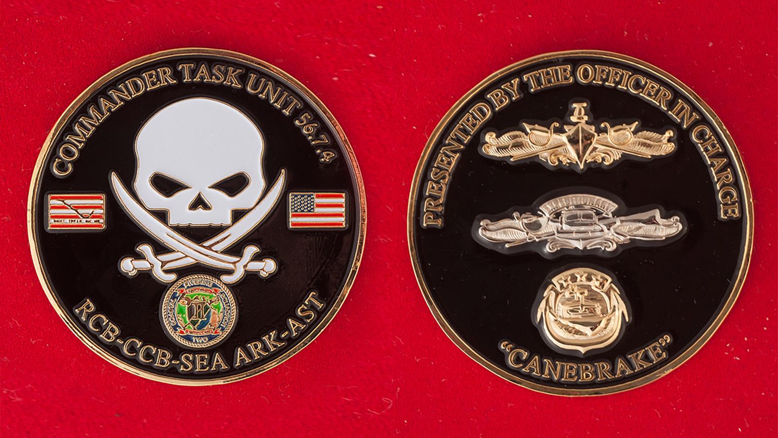 """Челлендж коин """"Оперативный отряд 56.7.4. 4-го дивизиона речных катеров ВМС США в Бахрейне"""" - аверс и реверс"""