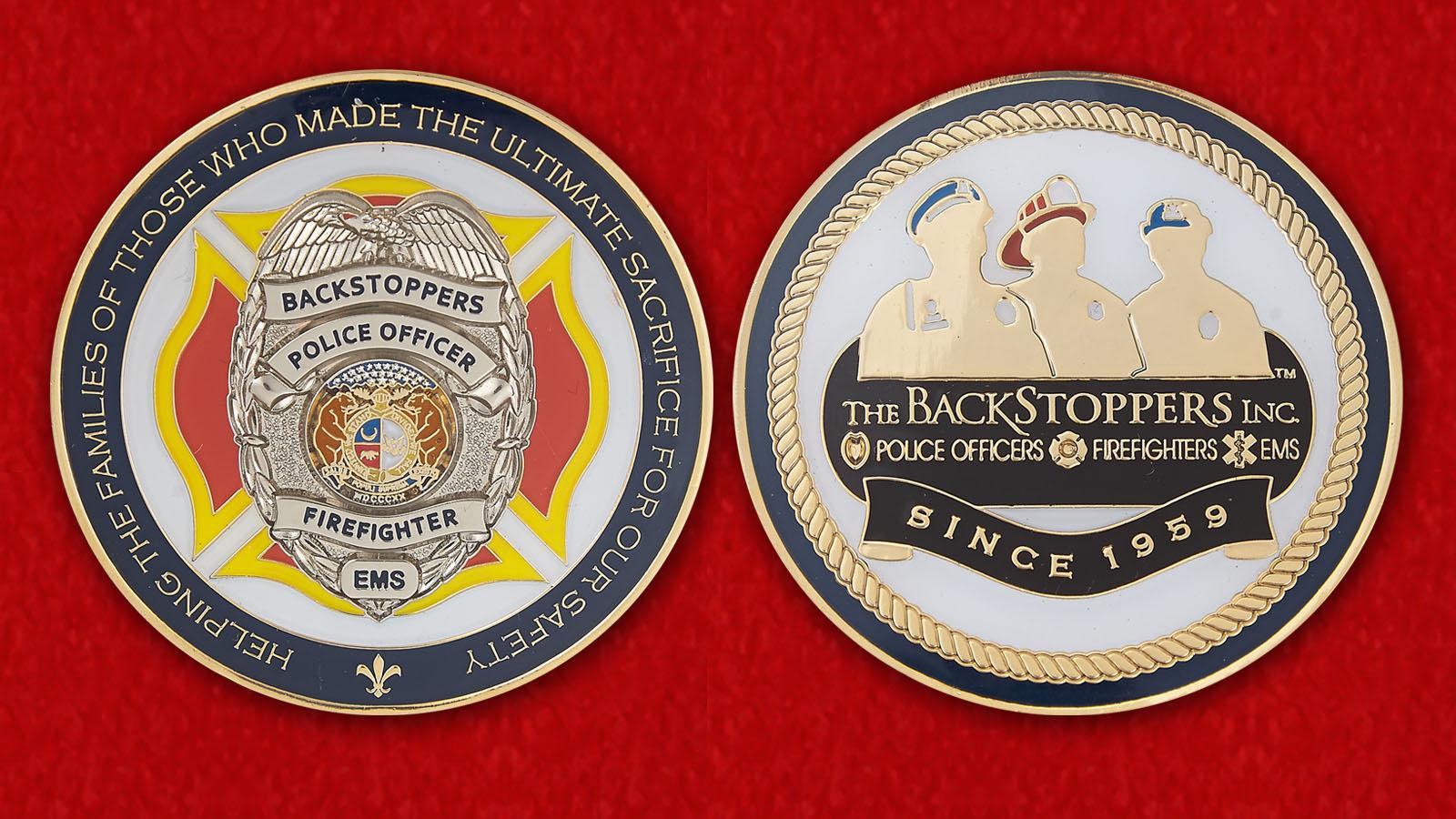 Челлендж коин Организации по оказанию финансовой помощи семьям погибших полицейских, пожарных, и добровольных спасателей - аверс и реверсс