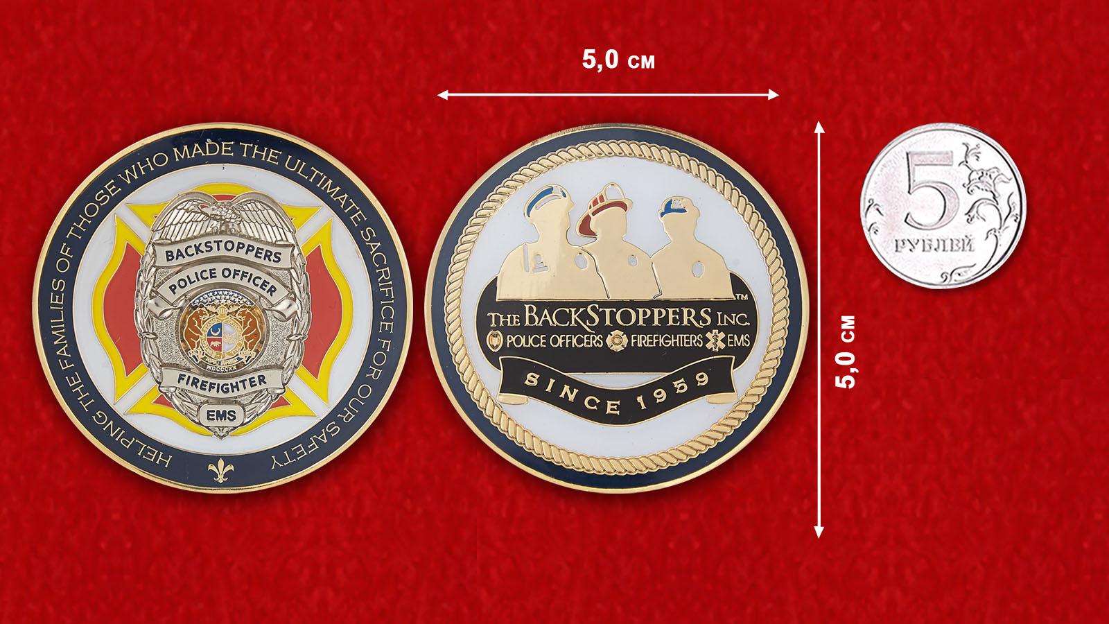Челлендж коин Организации по оказанию финансовой помощи семьям погибших полицейских, пожарных, и добровольных спасателей- сравнительный размер