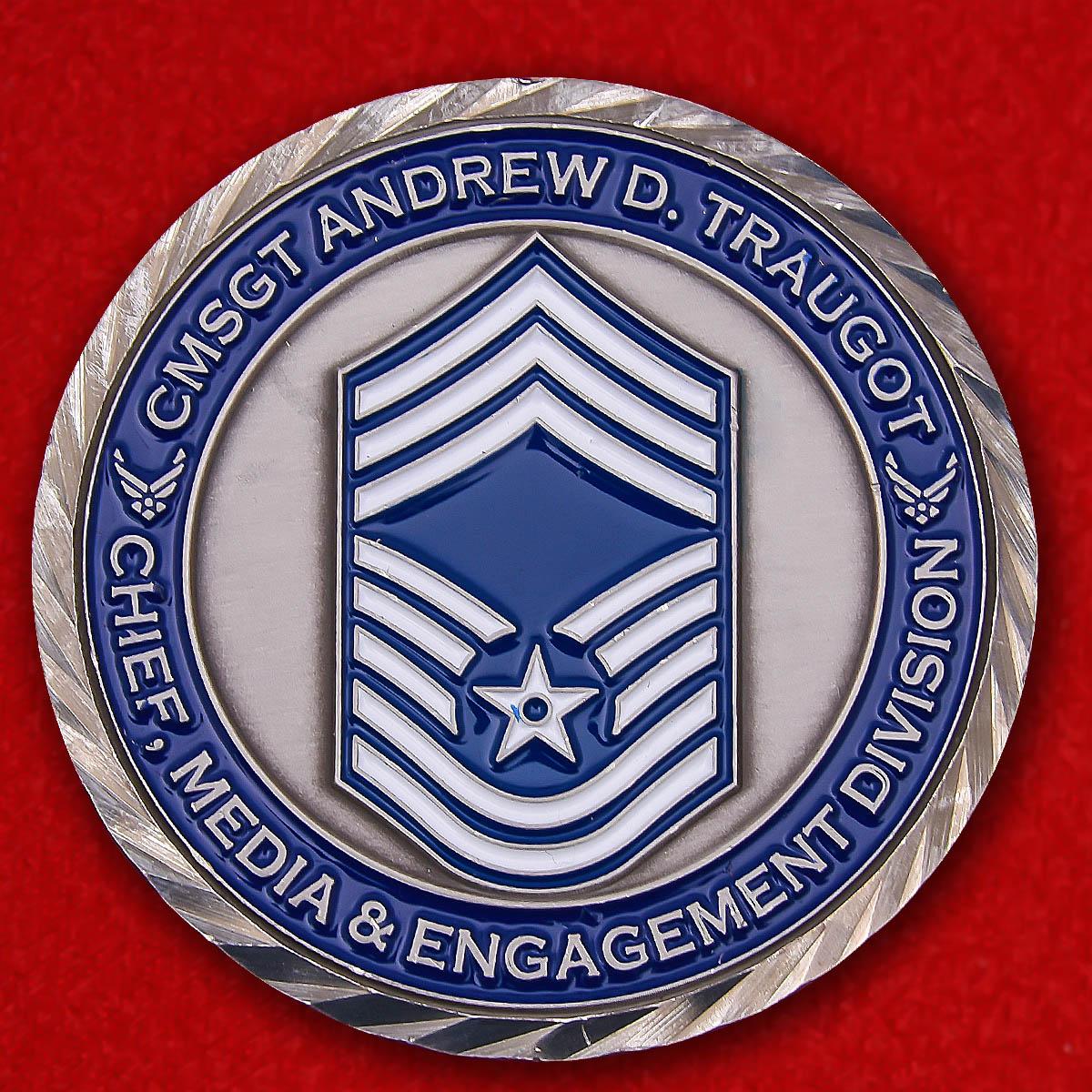 """Челлендж коин """"От главного мастер-сержанта тренировочно-образовательного центра И.Г. Браун Нацгвардии США Эндрю Трогота"""""""