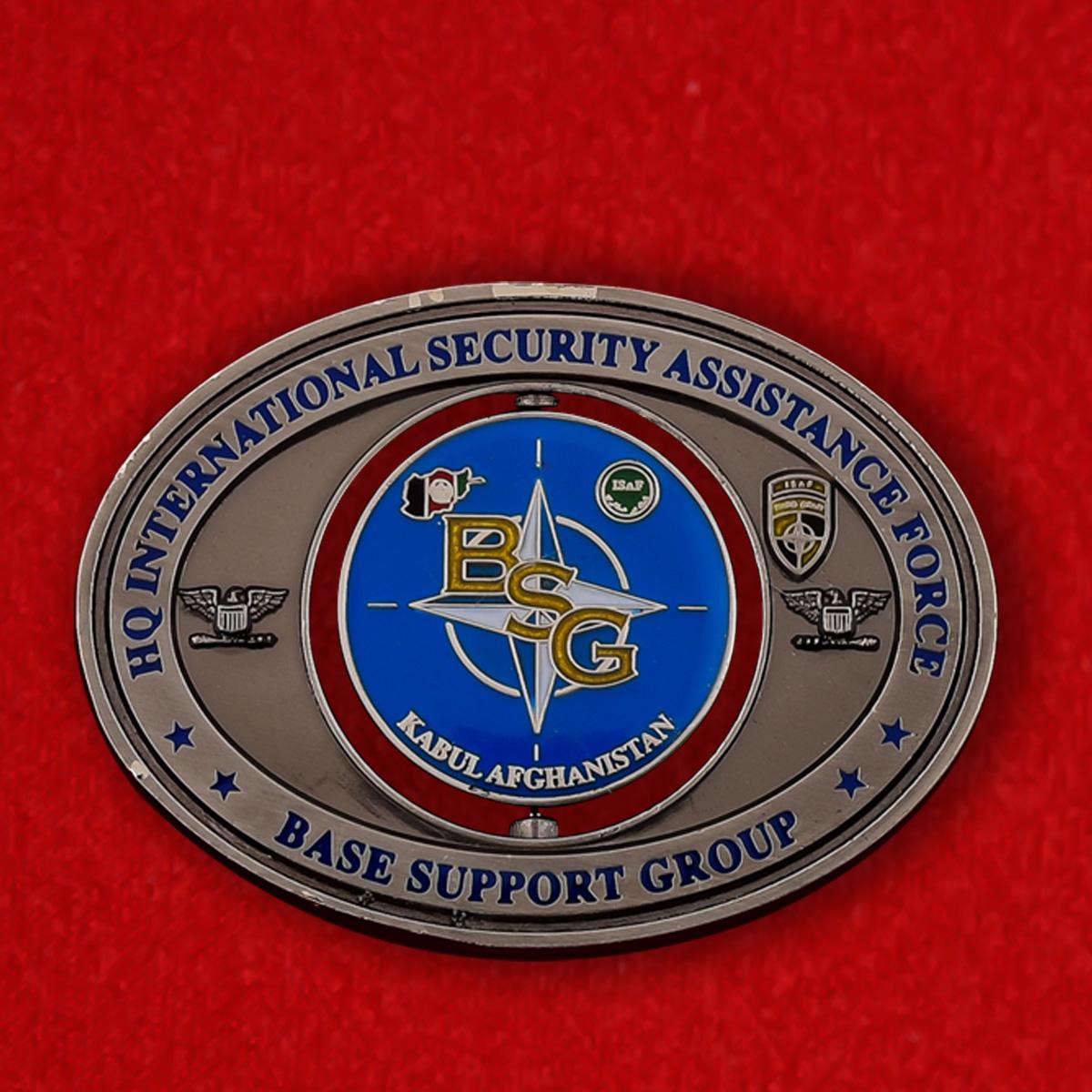 """Челлендж коин """"От командира Опорной базы Международных сил содействия безопасности в Афганистане"""""""