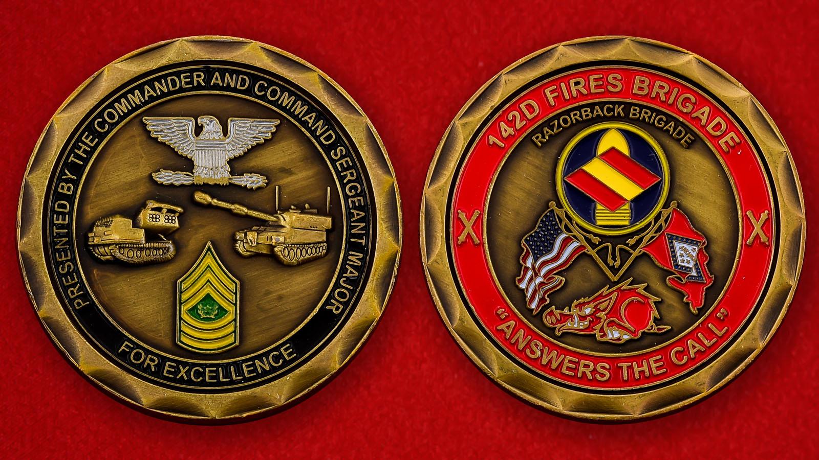 """Челлендж коин """"От командования 142-го полевого артиллерийского полка Национальной гвардии США"""""""