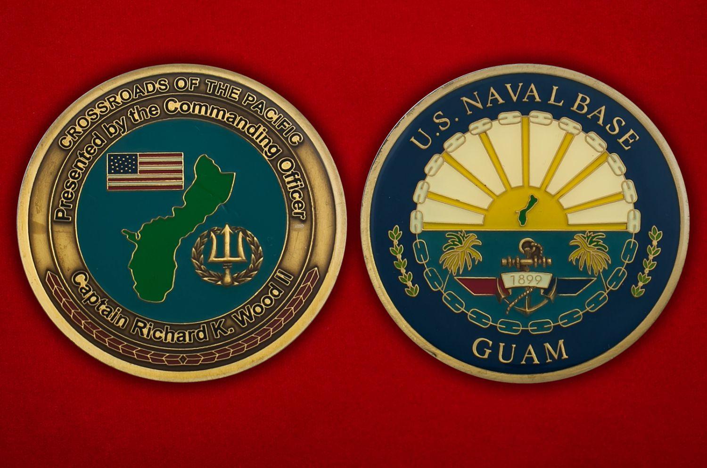 """Челлендж коин """"От  Командующего Базы ВМС США на Гуаме капитана Ричарда Вуда II"""" - аверс и реверс"""