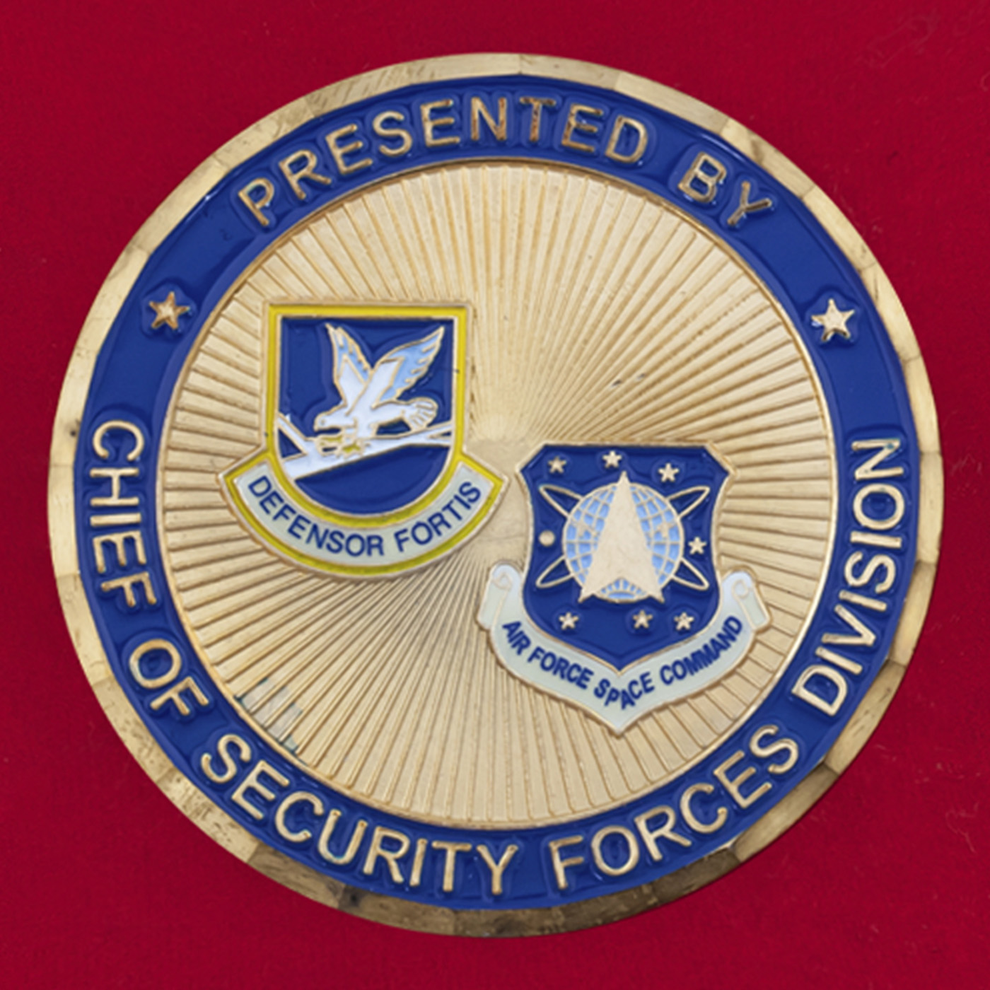 """Челлендж коин """"От начальника службы безопасности космического командования ВВС США"""""""