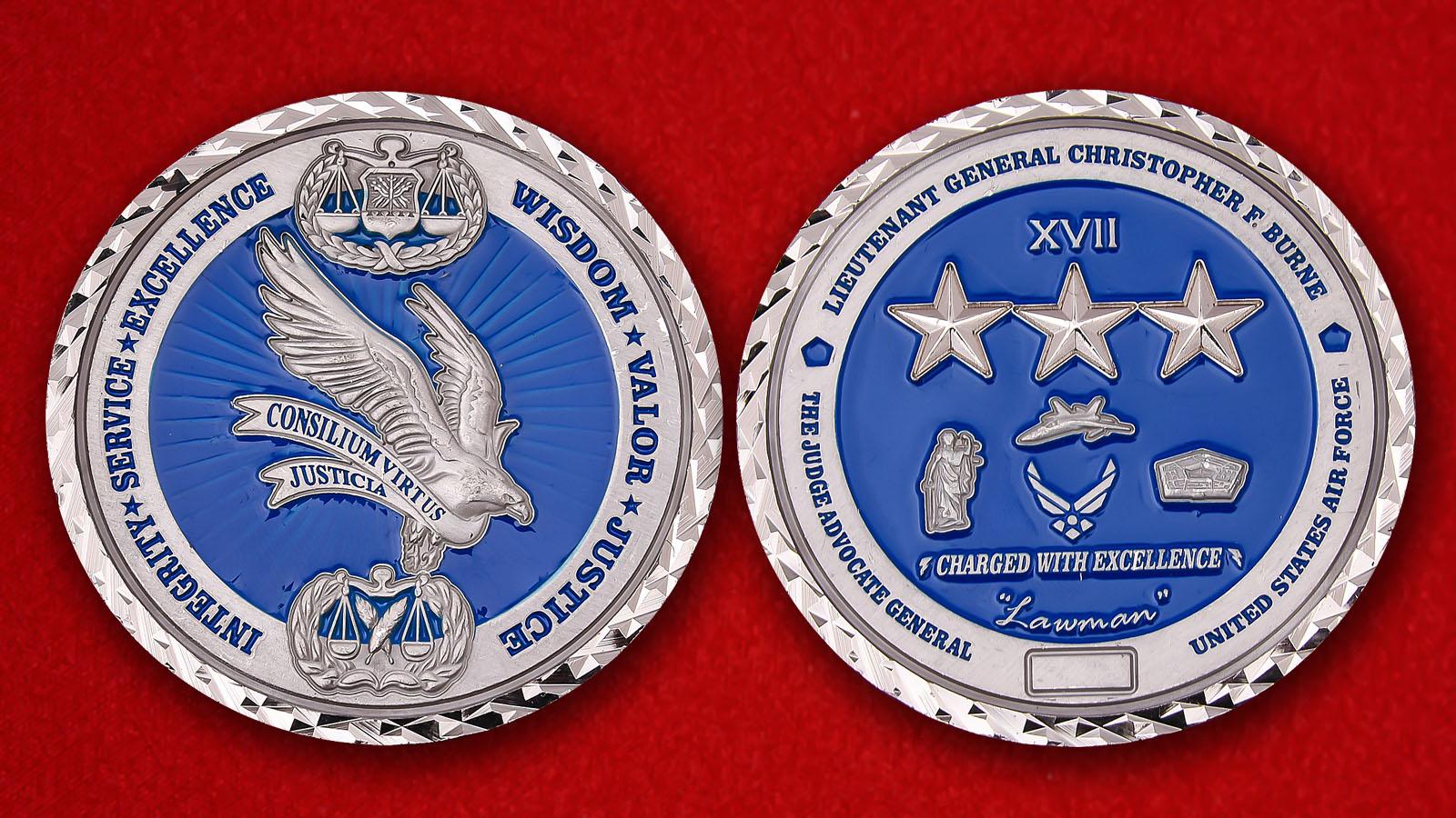 """Челлендж коин """"От Начальника юридической службы ВВС США генерал-лейтенанта Кристофера Берна"""""""